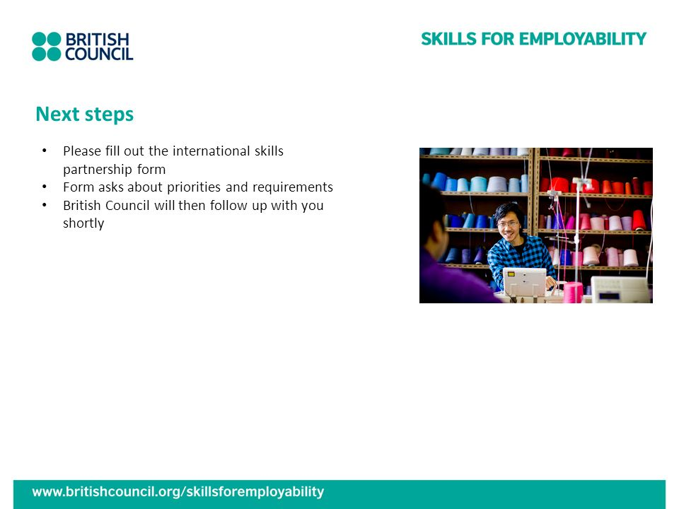 Next steps Please fill out the international skills partnership form