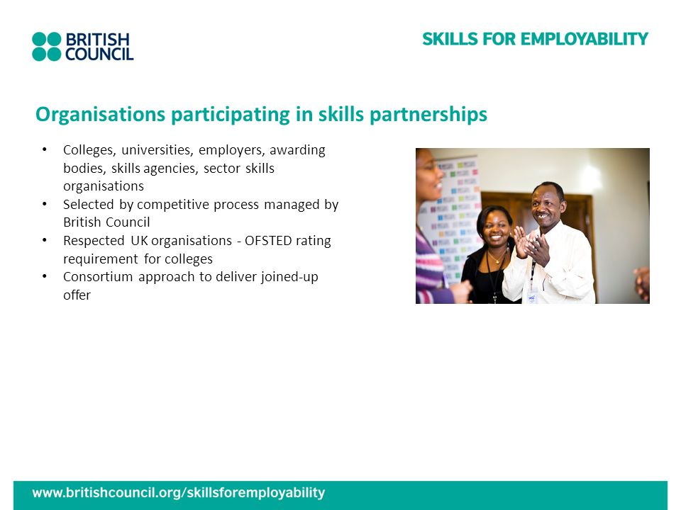 Organisations participating in skills partnerships