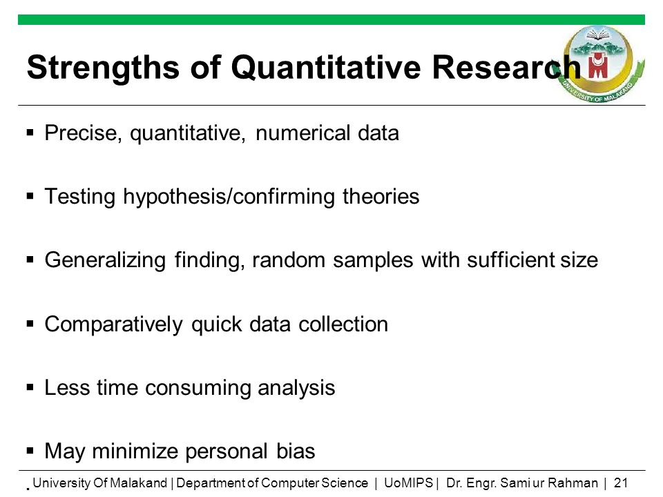 Compare the Strengths and Weaknesses of Quantitative and ...