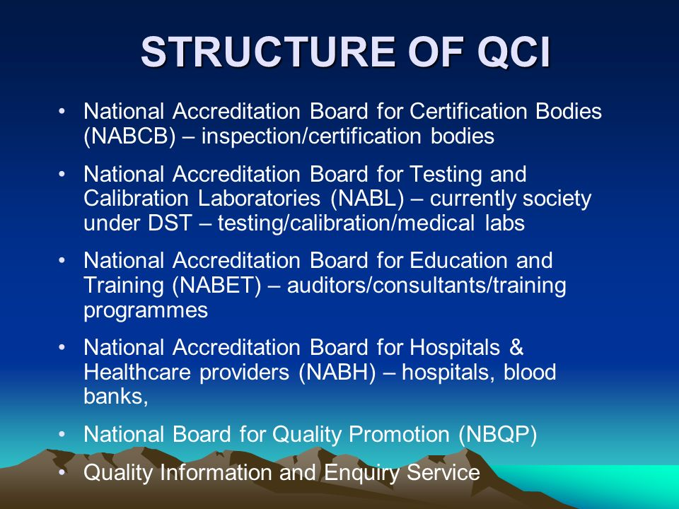 STRUCTURE OF QCI National Accreditation Board for Certification Bodies (NABCB) – inspection/certification bodies.