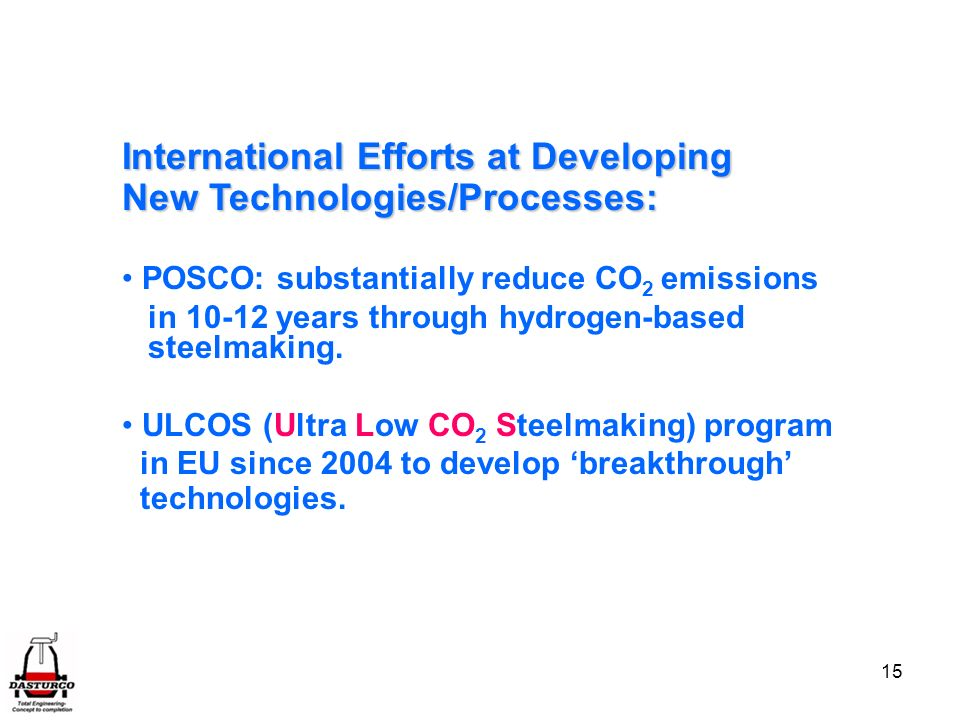 International Efforts at Developing New Technologies/Processes: