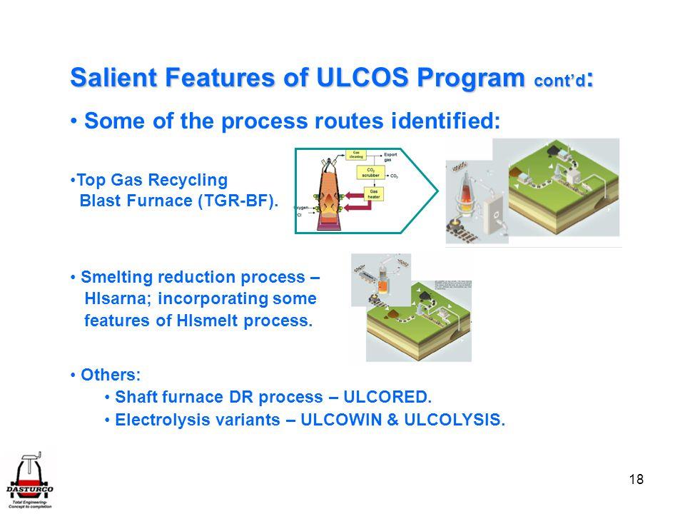Salient Features of ULCOS Program cont'd: