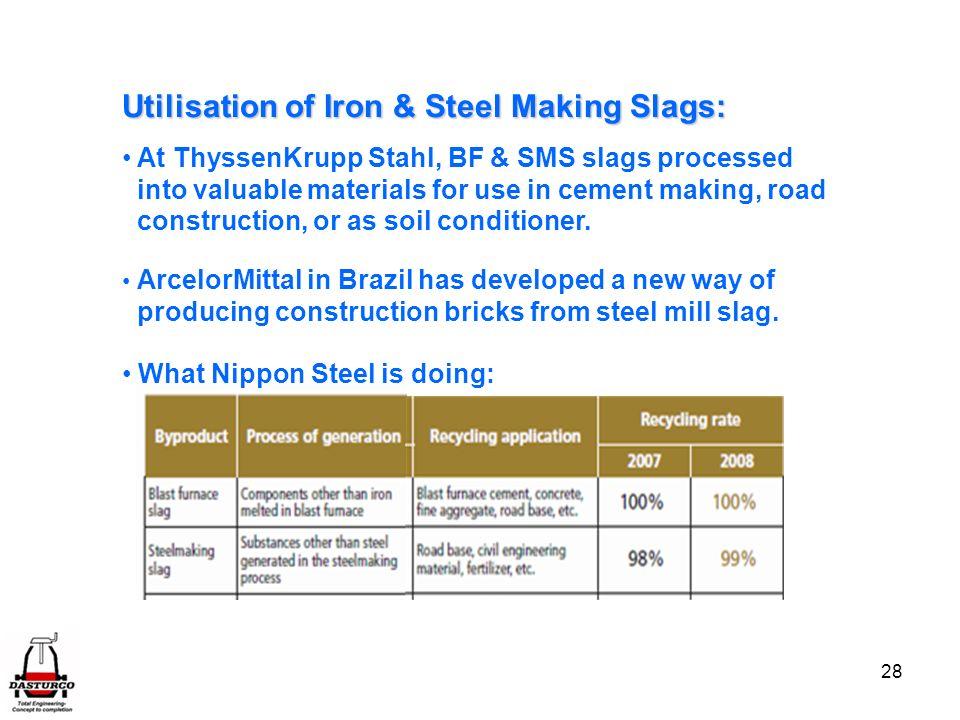 Utilisation of Iron & Steel Making Slags: