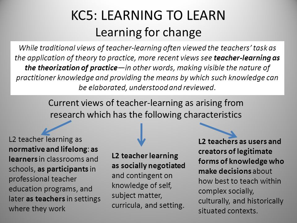 KC5: LEARNING TO LEARN Learning for change