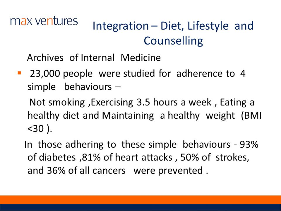 Integration – Diet, Lifestyle and Counselling
