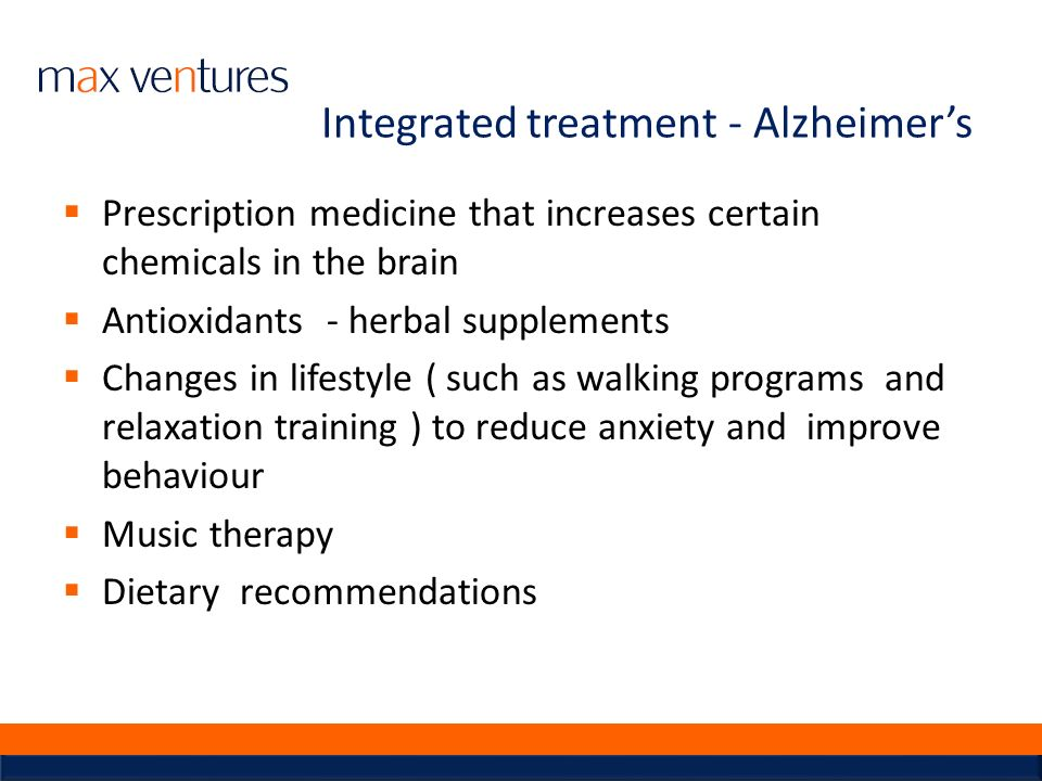 Integrated treatment - Alzheimer's
