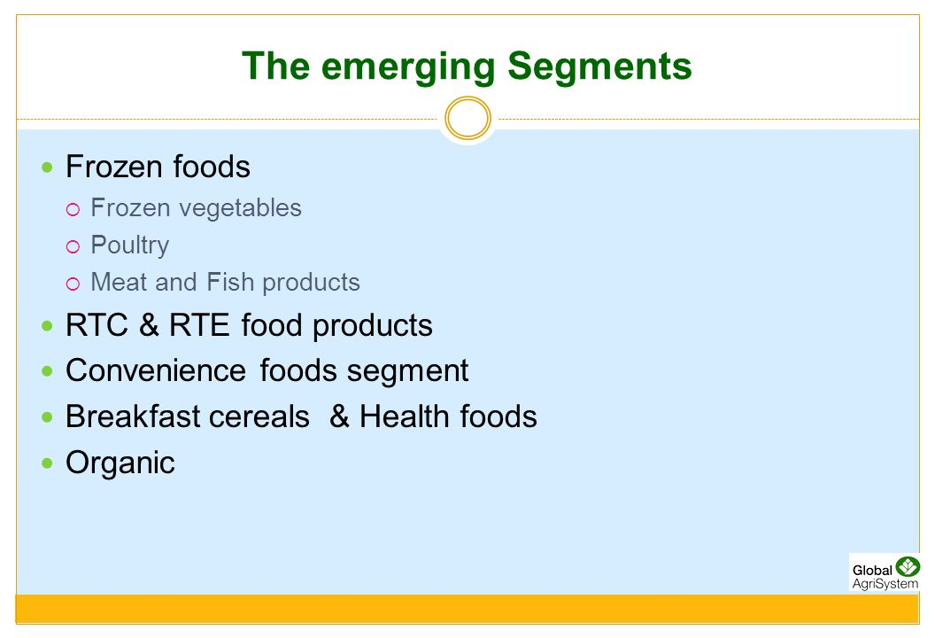 The emerging Segments Frozen foods RTC & RTE food products