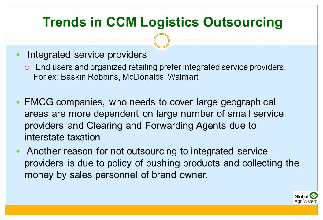 Trends in CCM Logistics Outsourcing