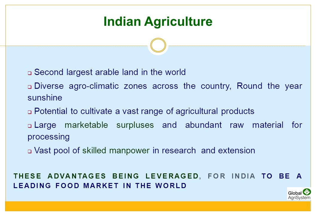 Indian Agriculture Second largest arable land in the world