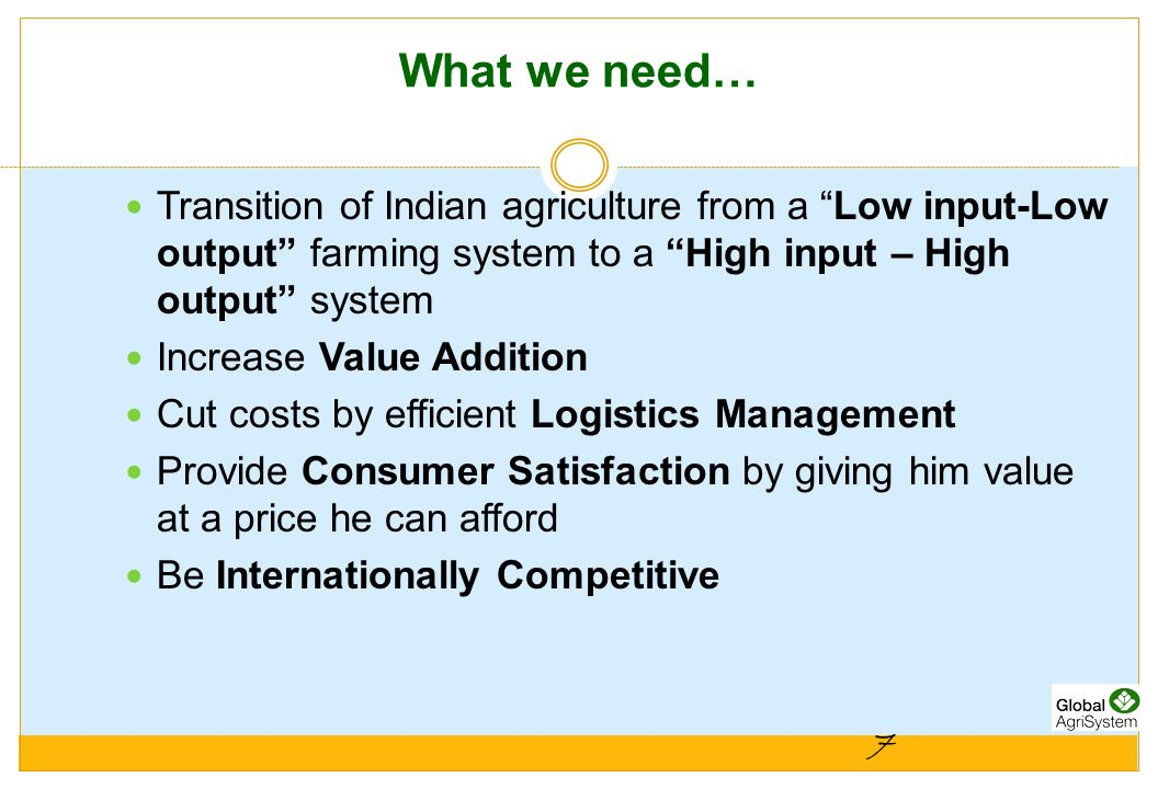 What we need… Transition of Indian agriculture from a Low input-Low output farming system to a High input – High output system.