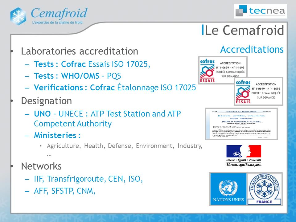 Le Cemafroid Accreditations Laboratories accreditation Designation