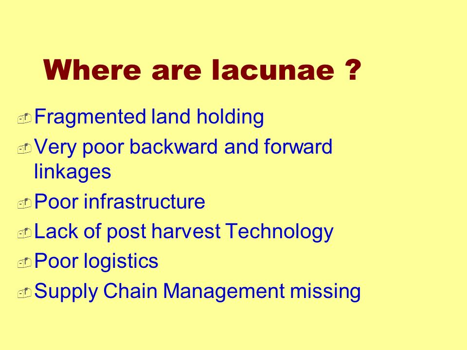 Where are lacunae Fragmented land holding