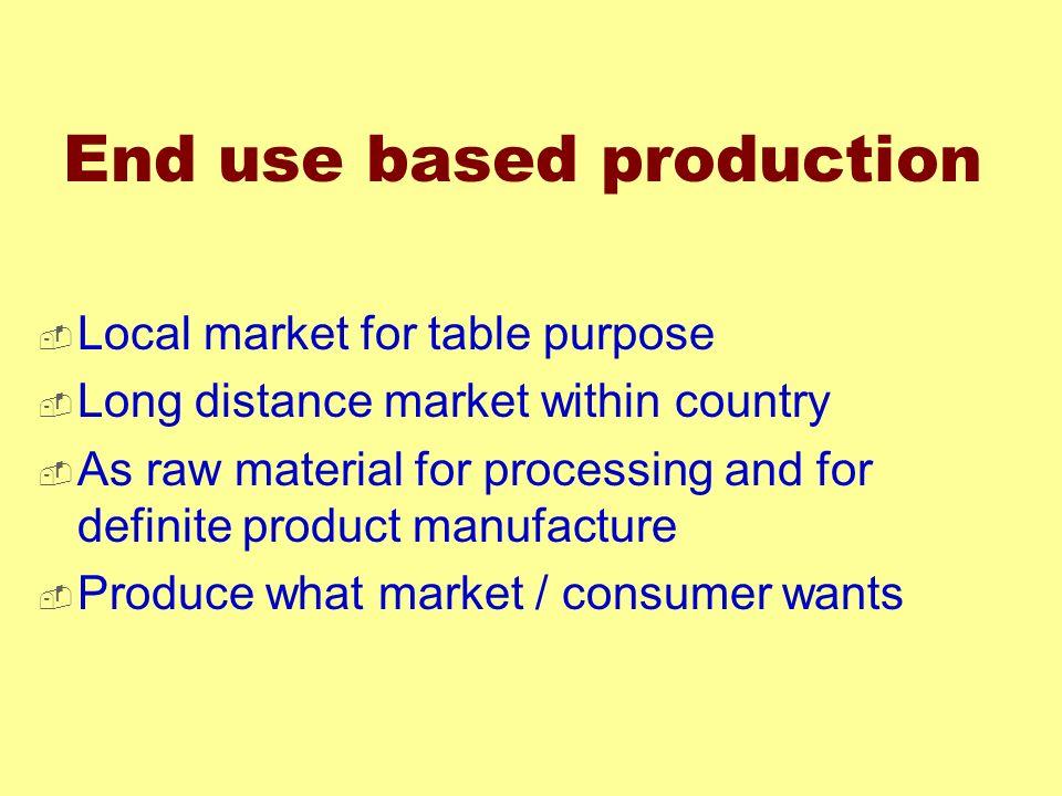 End use based production