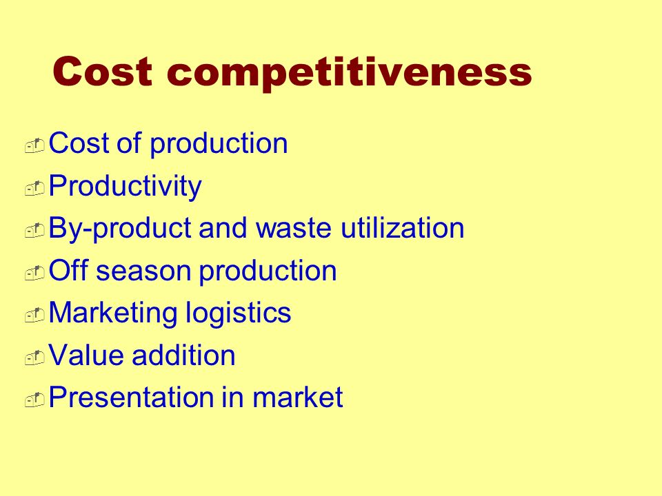 Cost competitiveness Cost of production Productivity