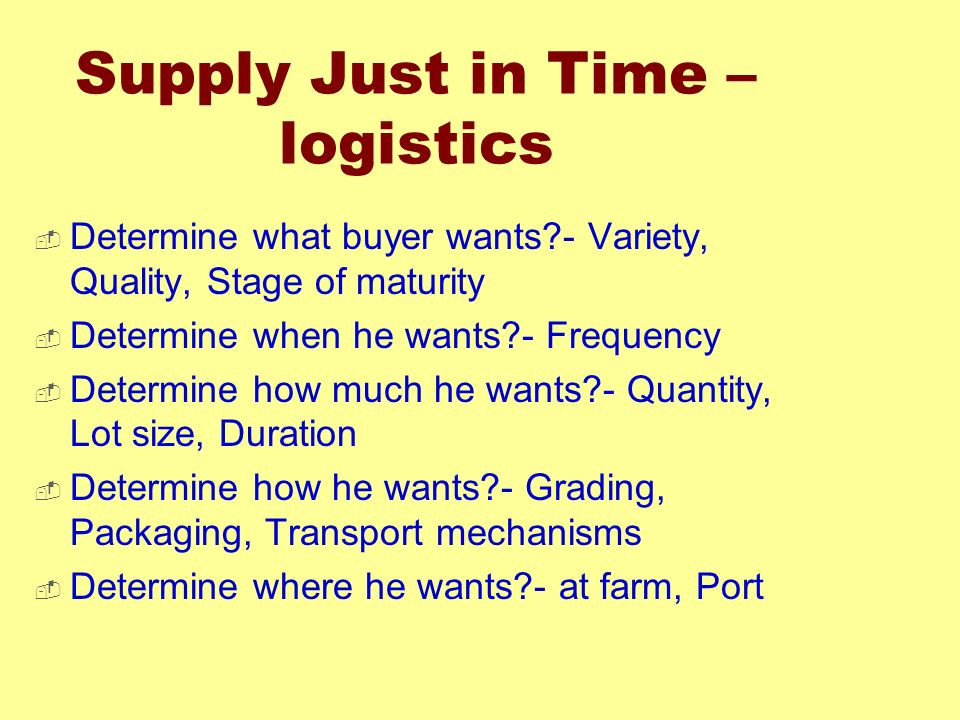 Supply Just in Time – logistics