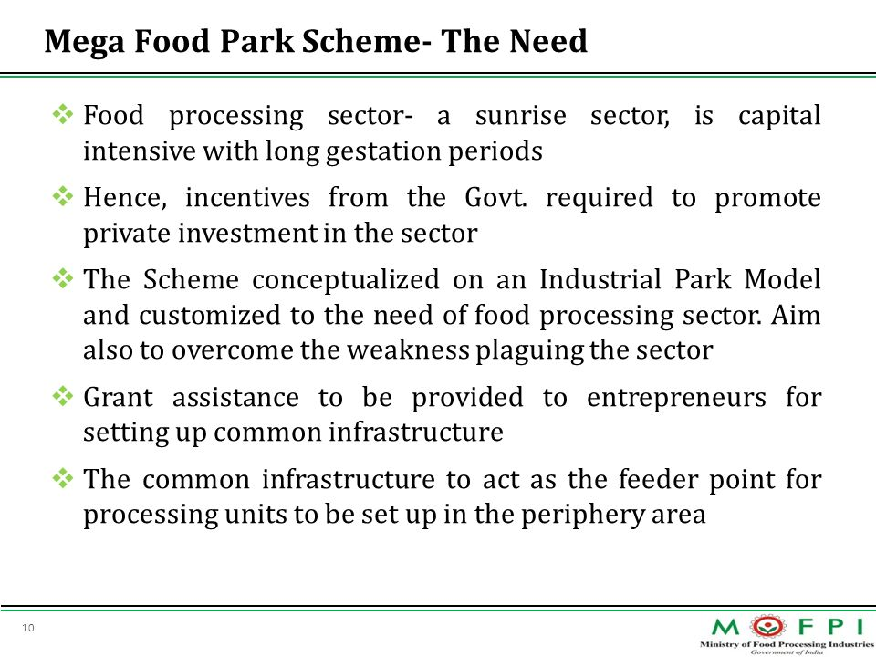 Mega Food Park Scheme- The Need
