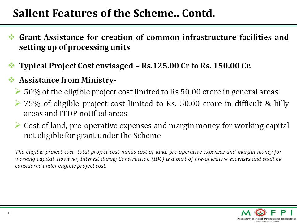 Salient Features of the Scheme.. Contd.