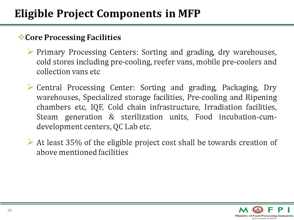 Eligible Project Components in MFP