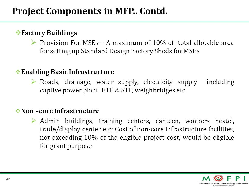 Project Components in MFP.. Contd.