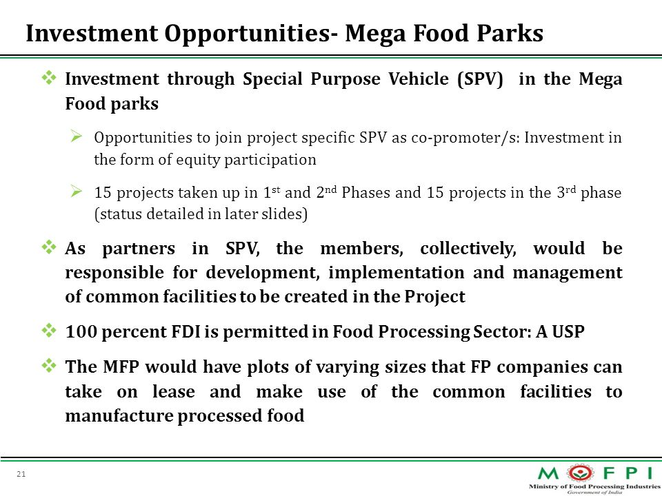 Investment Opportunities- Mega Food Parks