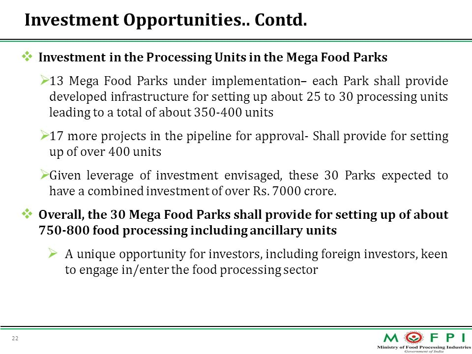 Investment Opportunities.. Contd.