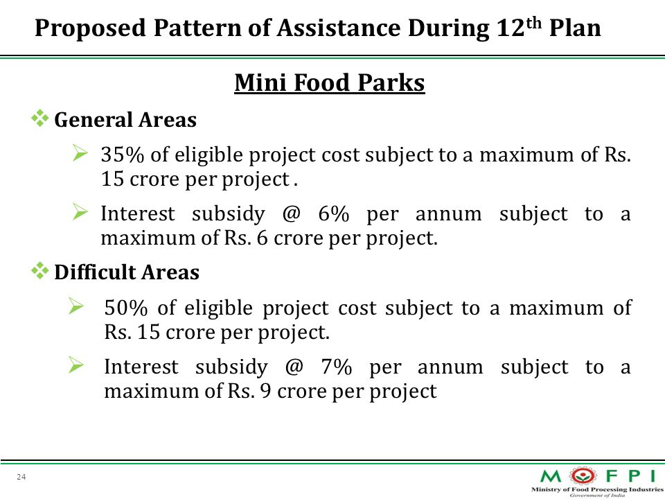 Proposed Pattern of Assistance During 12th Plan