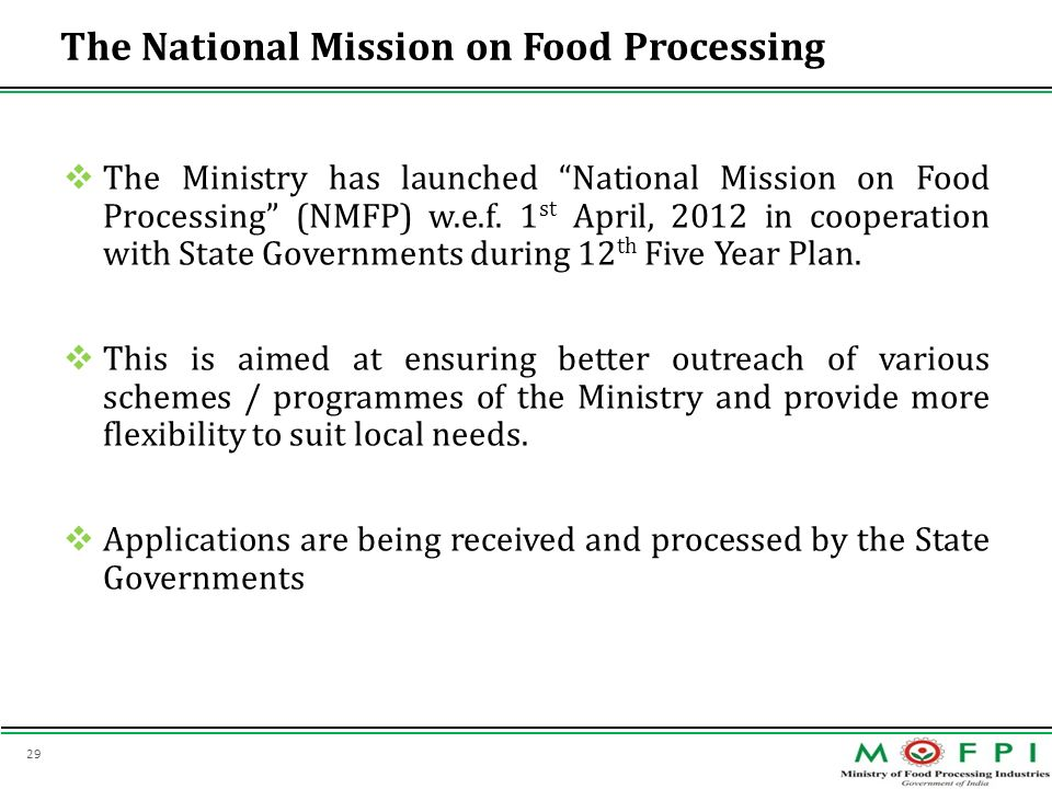 The National Mission on Food Processing