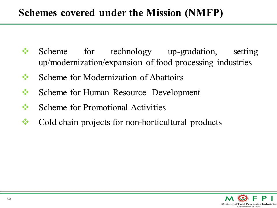 Schemes covered under the Mission (NMFP)