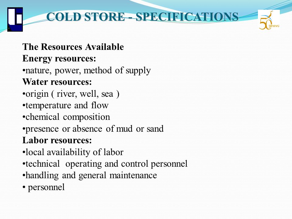 COLD STORE - SPECIFICATIONS