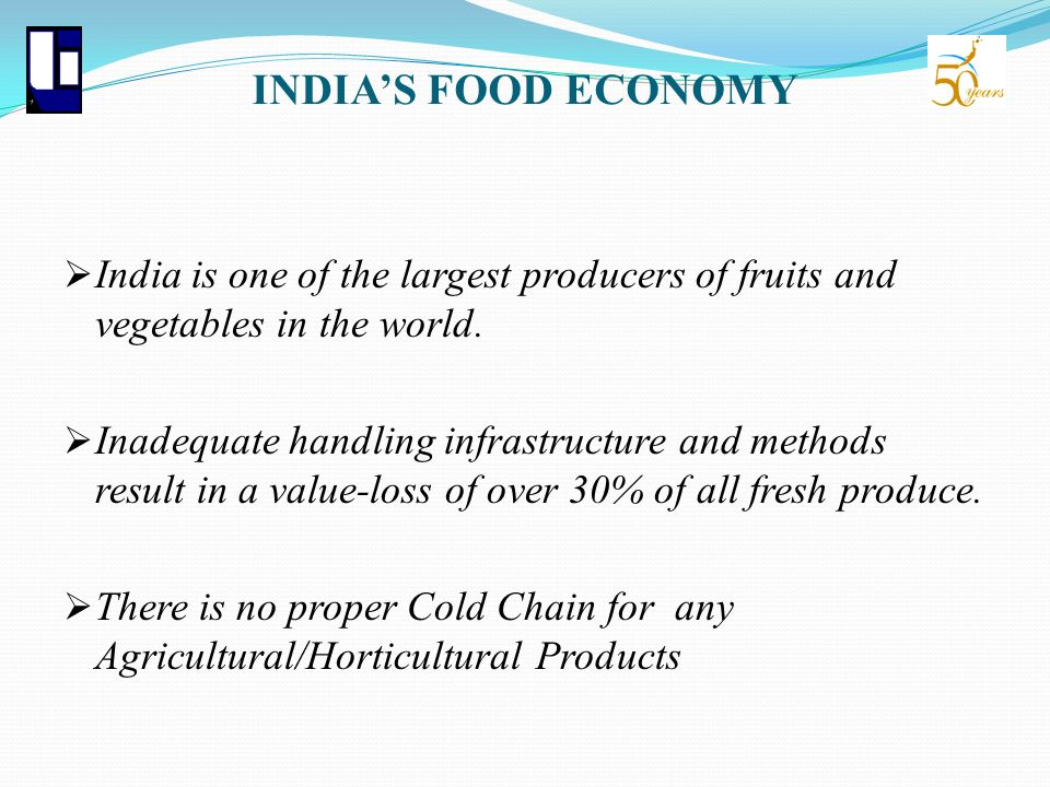 INDIA'S FOOD ECONOMY India is one of the largest producers of fruits and vegetables in the world.
