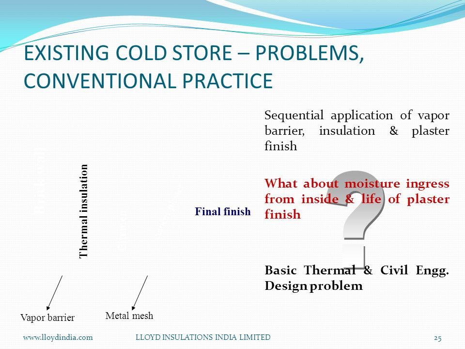 EXISTING COLD STORE – PROBLEMS, CONVENTIONAL PRACTICE