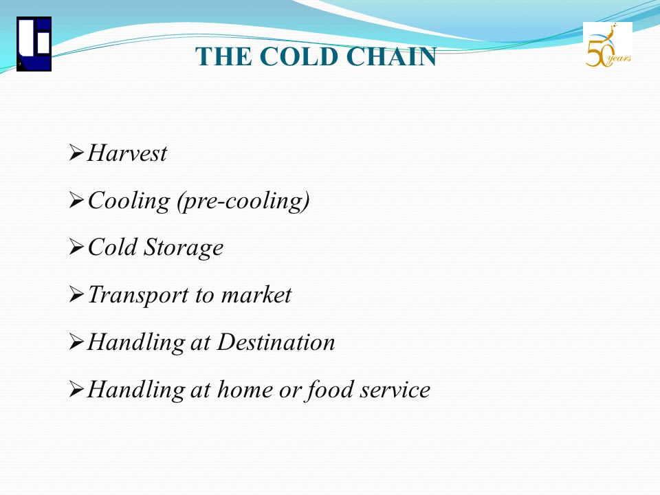 THE COLD CHAIN Harvest Cooling (pre-cooling) Cold Storage