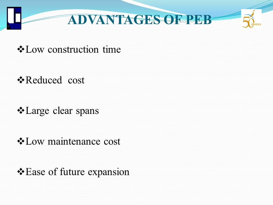 ADVANTAGES OF PEB Low construction time Reduced cost Large clear spans