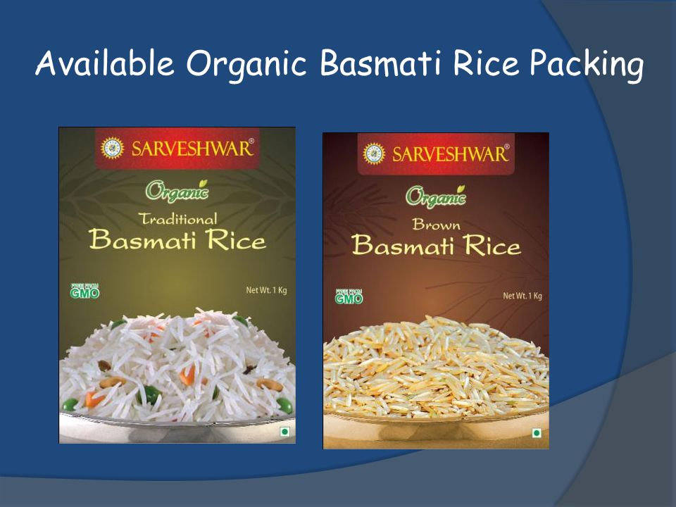 Available Organic Basmati Rice Packing