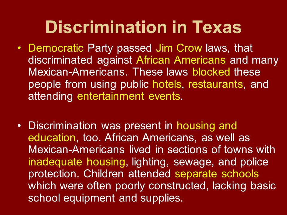 Discrimination in Texas