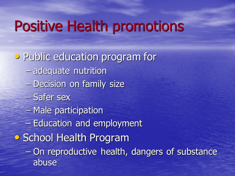 Positive Health promotions