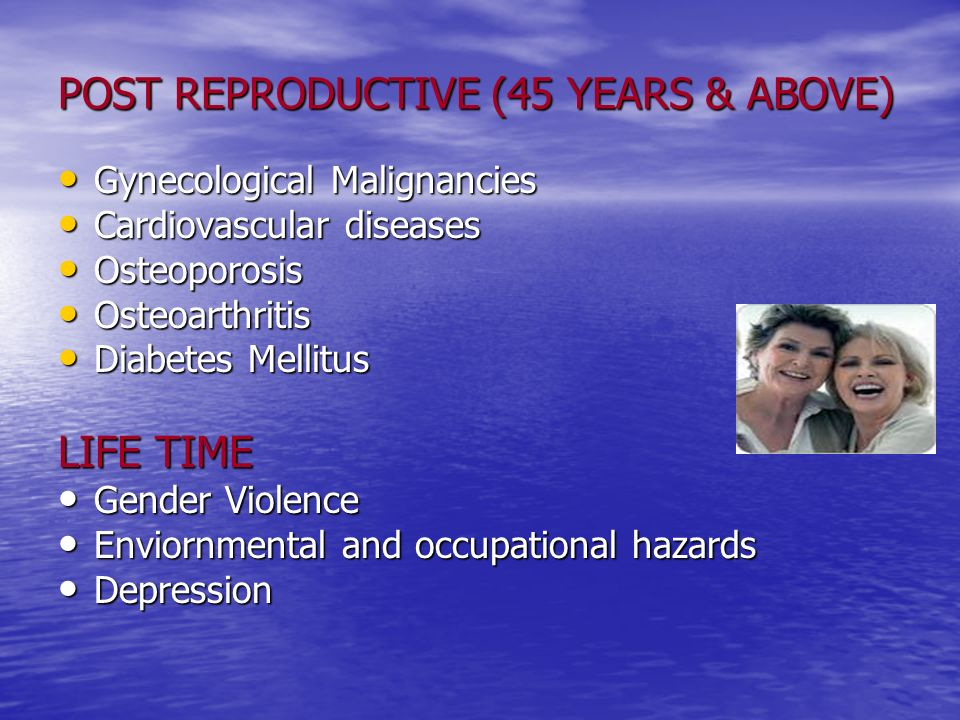 POST REPRODUCTIVE (45 YEARS & ABOVE)