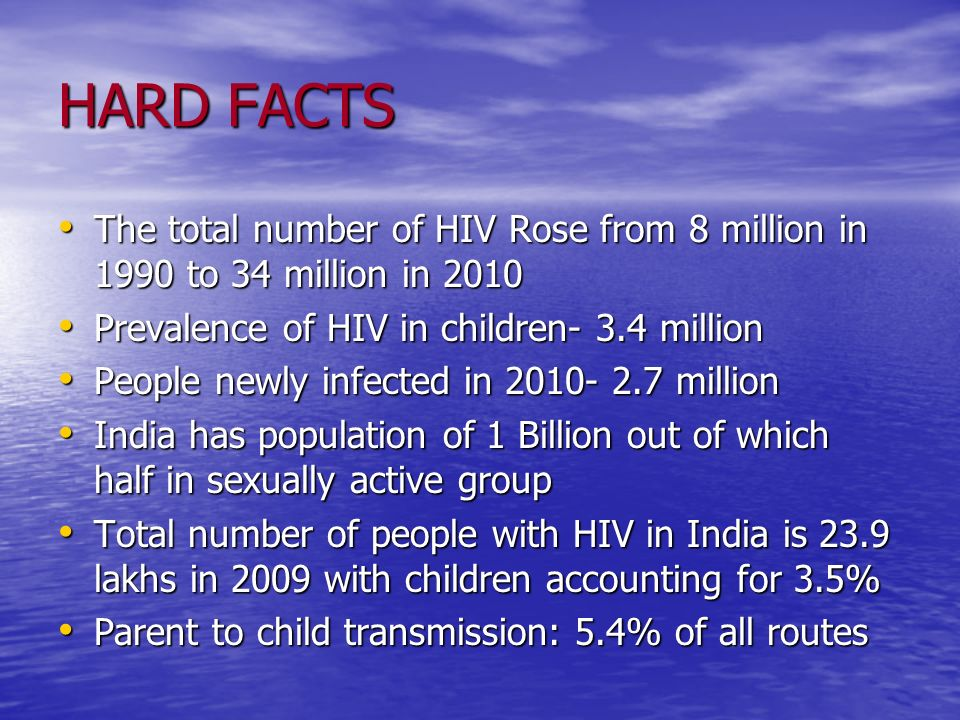 HARD FACTS The total number of HIV Rose from 8 million in 1990 to 34 million in 2010. Prevalence of HIV in children- 3.4 million.