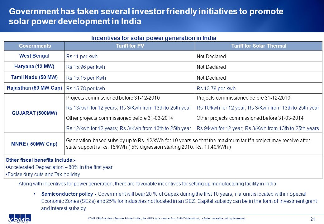 Government has taken several investor friendly initiatives to promote solar power development in India