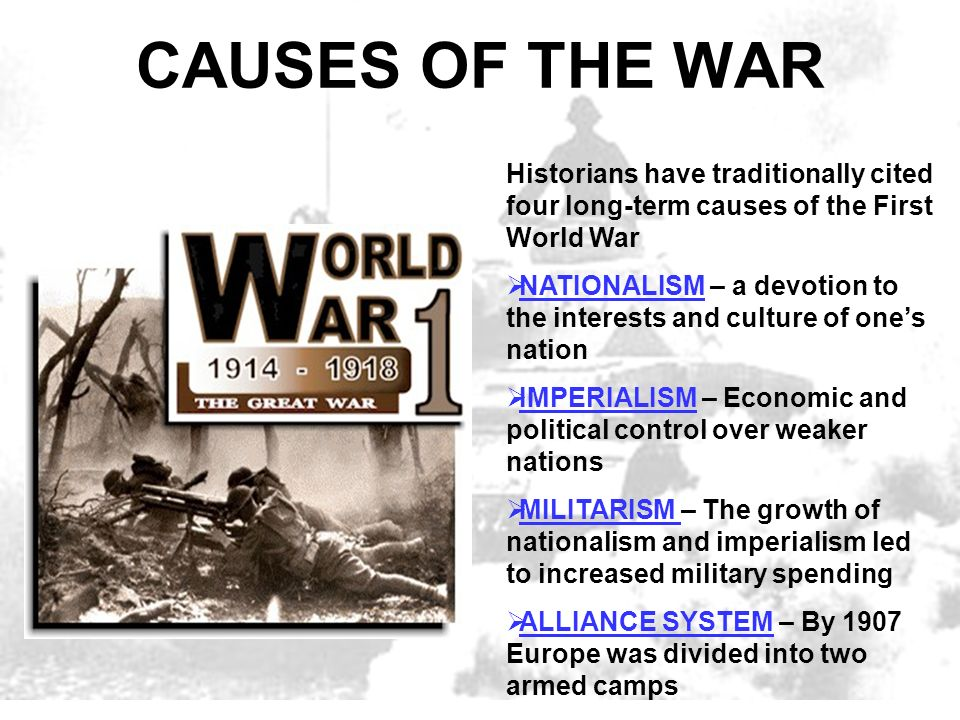 the political causes for world war 1 Causes of world wars i and ii print  [1] the beginning of world war i  more than 400 political assassinations had been carried out in germany,.
