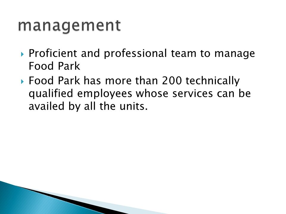 Proficient and professional team to manage Food Park