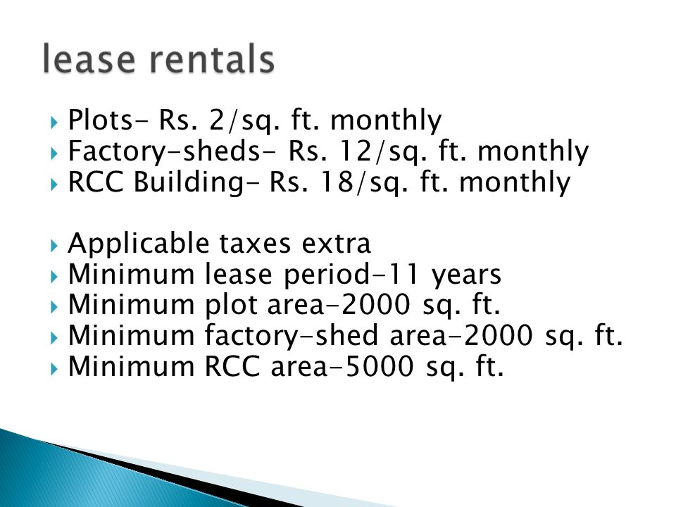 Plots- Rs. 2/sq. ft. monthly