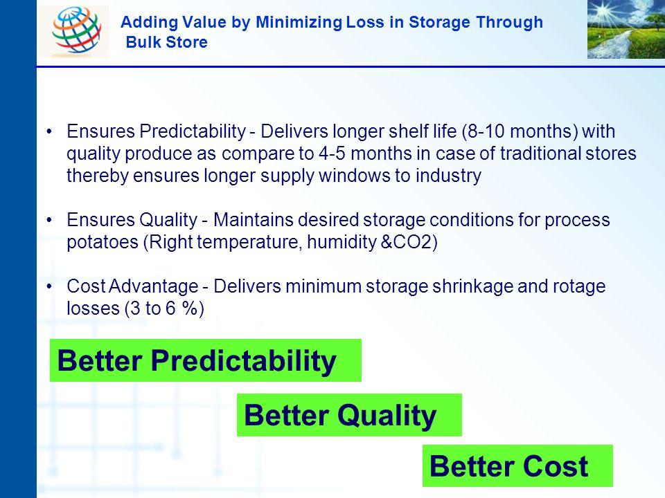 Adding Value by Minimizing Loss in Storage Through Bulk Store