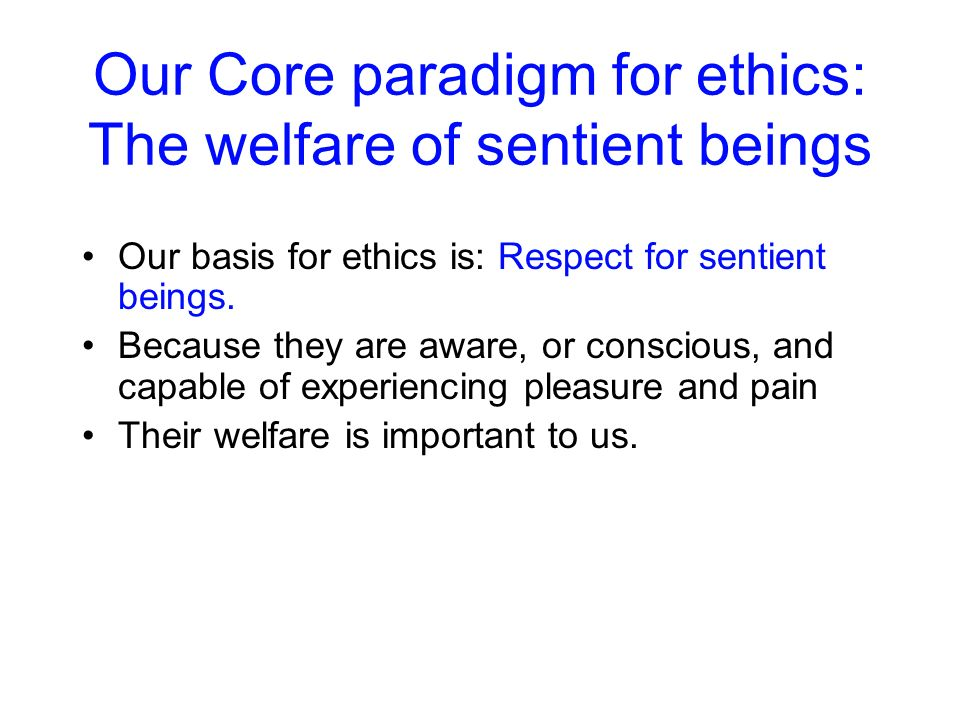 Our Core paradigm for ethics: The welfare of sentient beings