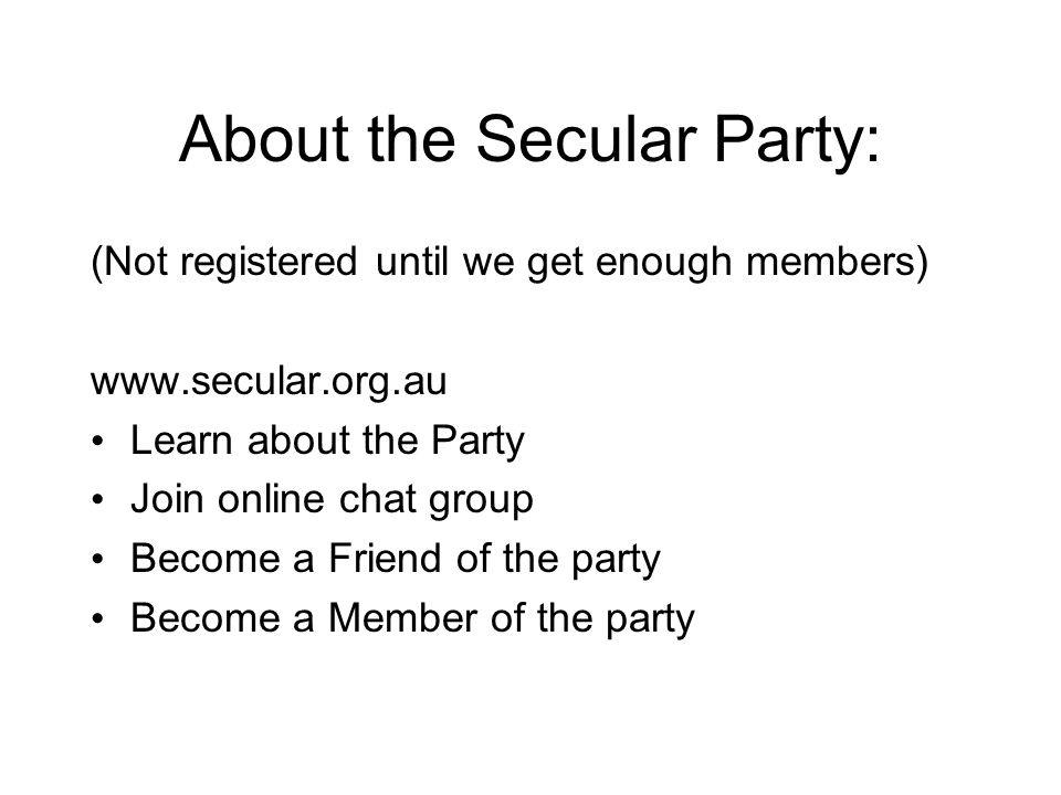 About the Secular Party: