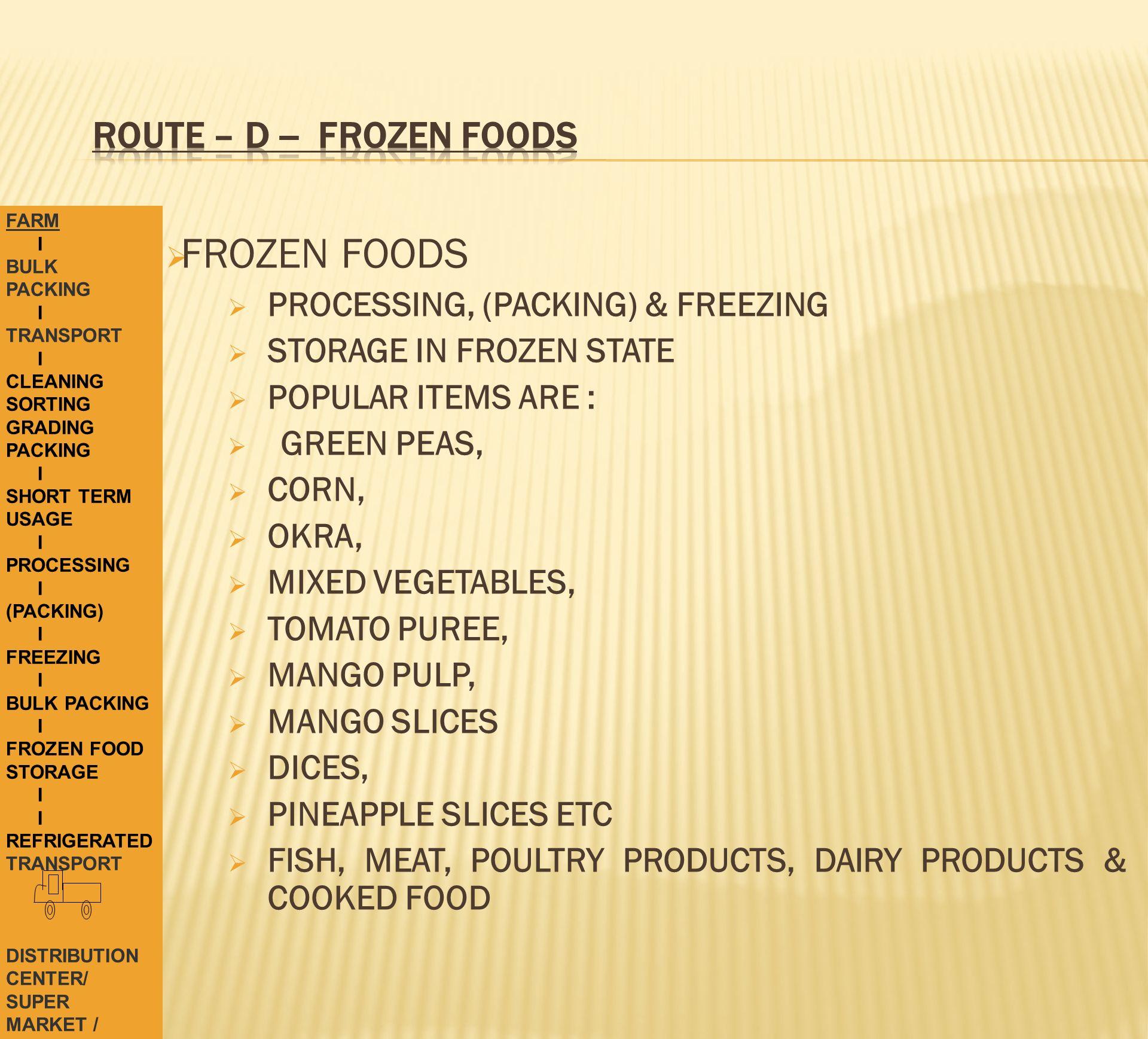ROUTE – D -- FROZEN FOODS