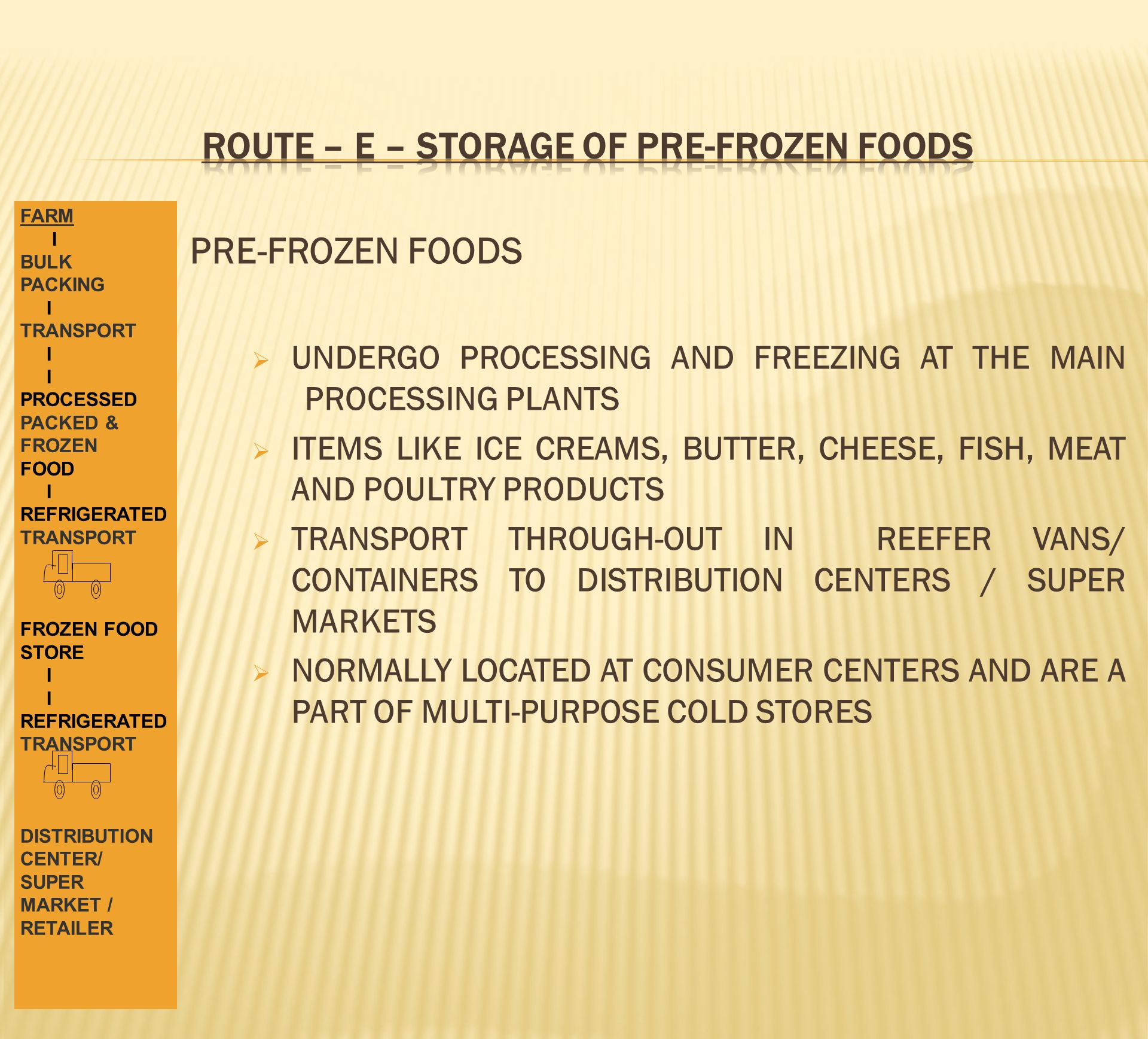 ROUTE – E – STORAGE OF PRE-FROZEN FOODS