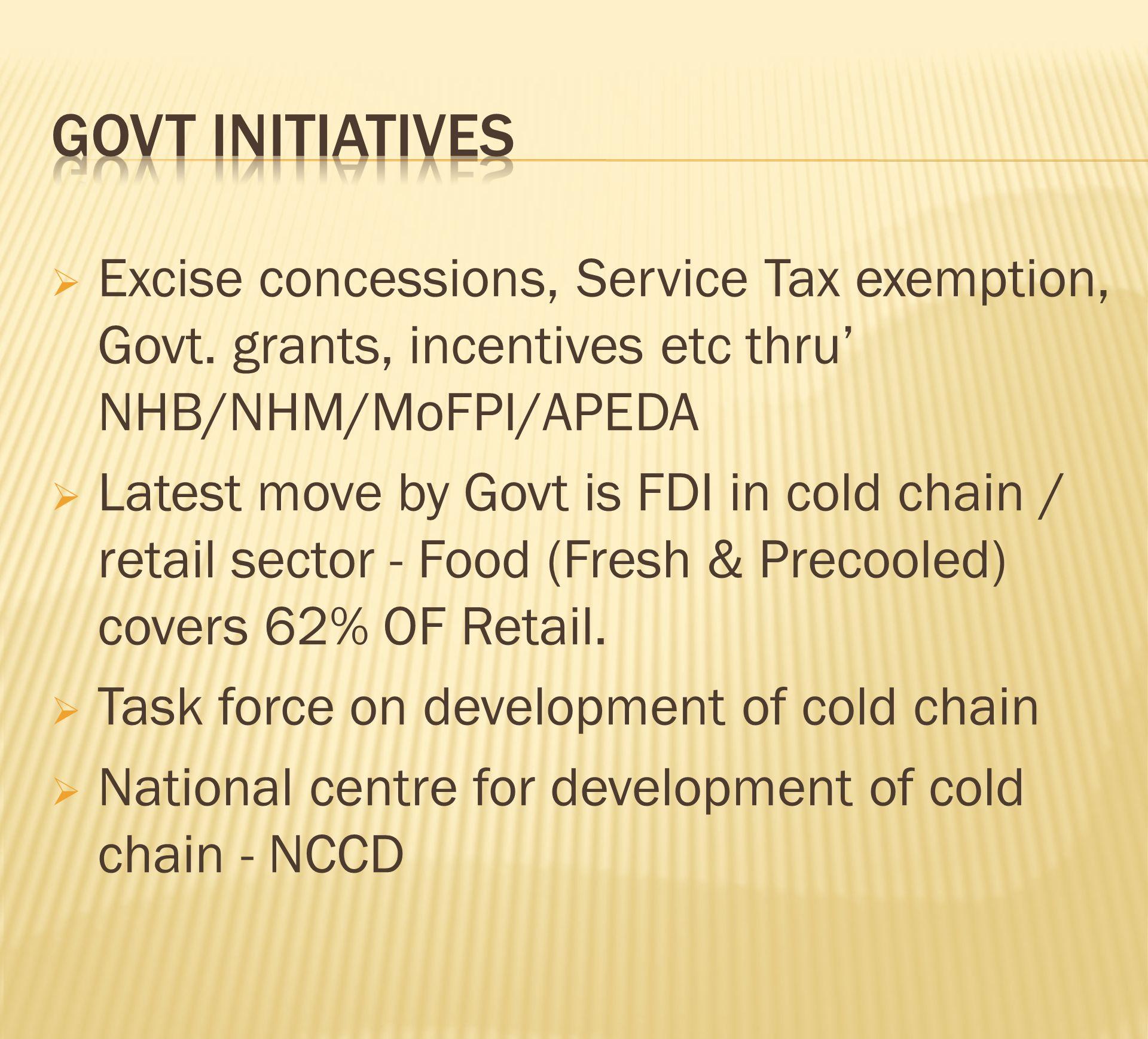 Govt initiatives Excise concessions, Service Tax exemption, Govt. grants, incentives etc thru' NHB/NHM/MoFPI/APEDA.