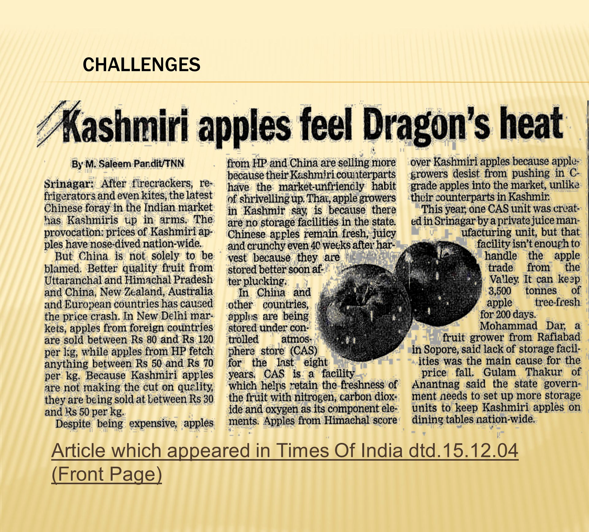 CHALLENGES Article which appeared in Times Of India dtd (Front Page)