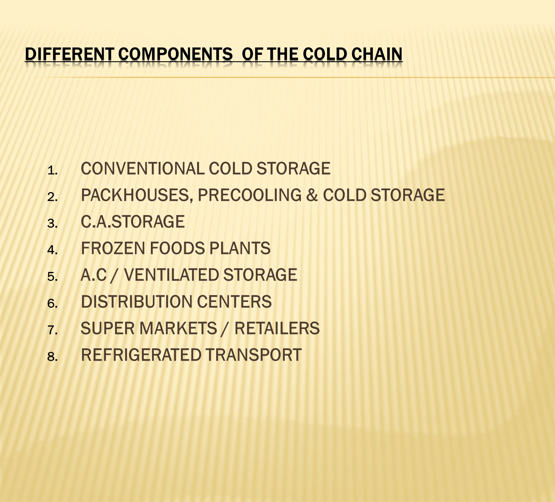 DIFFERENT COMPONENTS OF THE COLD CHAIN
